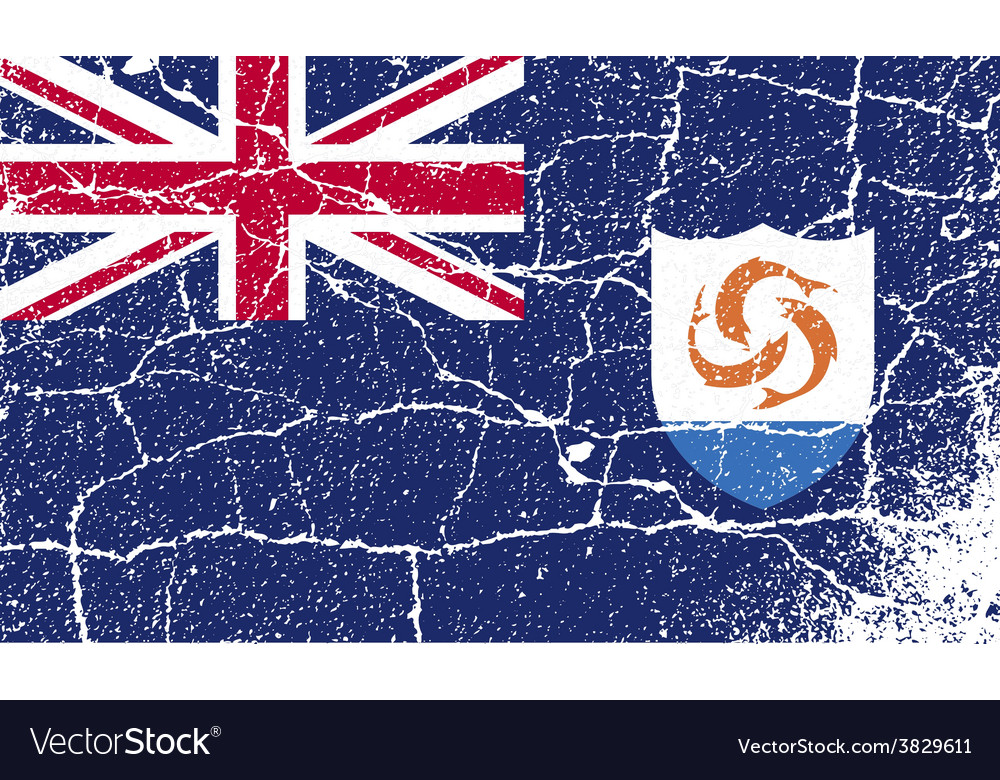 Flag of anguilla with old texture vector | Price: 1 Credit (USD $1)
