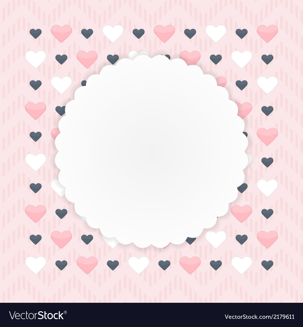 Greeting card with hearts over pink vector | Price: 1 Credit (USD $1)