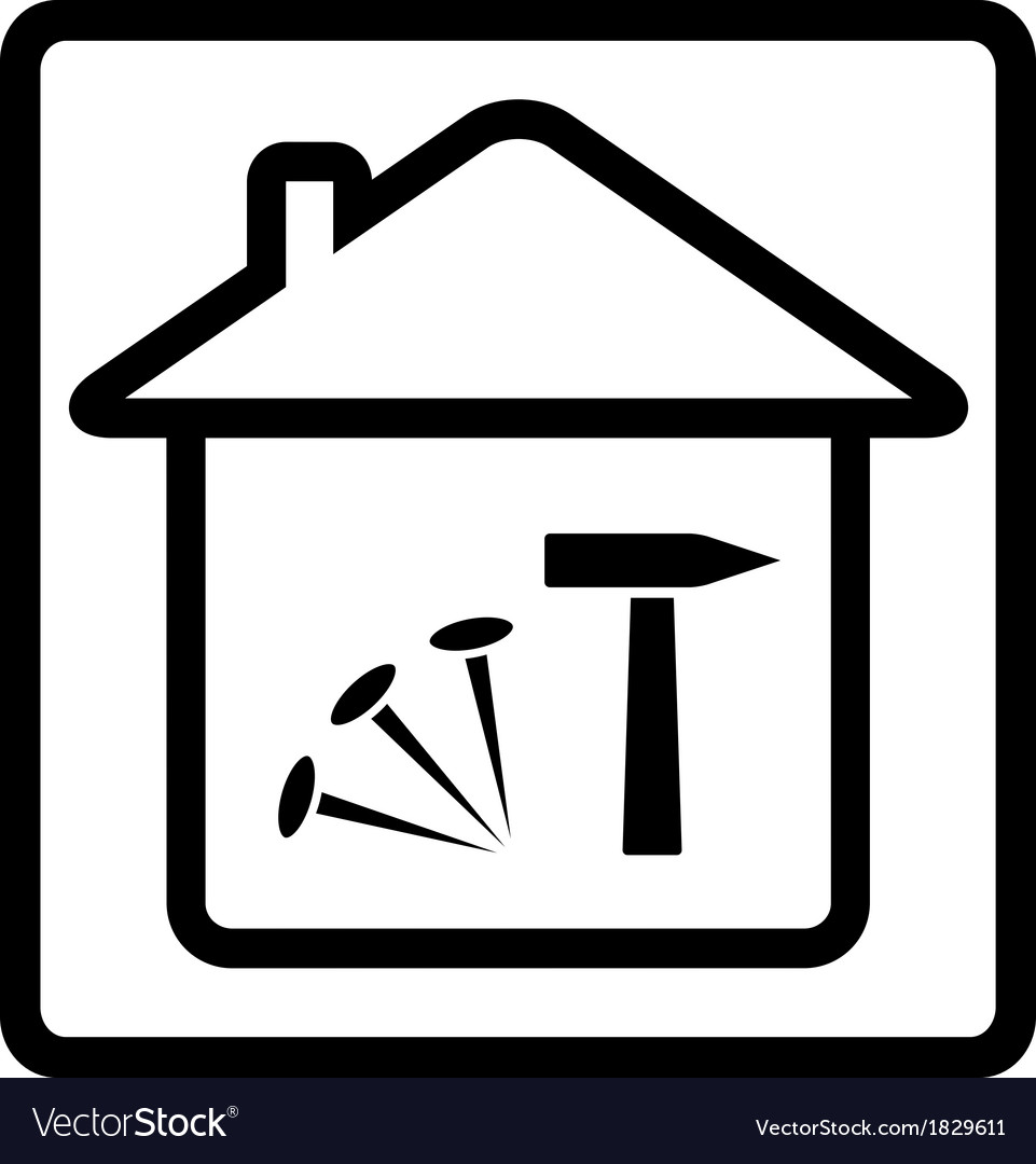 Icon with house nails and hammer vector | Price: 1 Credit (USD $1)