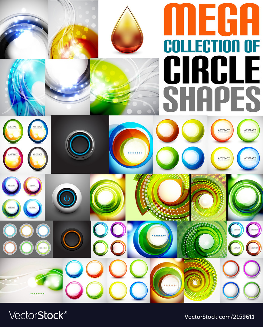 Mega collection of circle shaped compositions vector | Price: 1 Credit (USD $1)