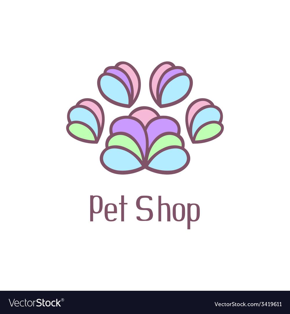 Original pet shop logo with pet paw vector | Price: 1 Credit (USD $1)