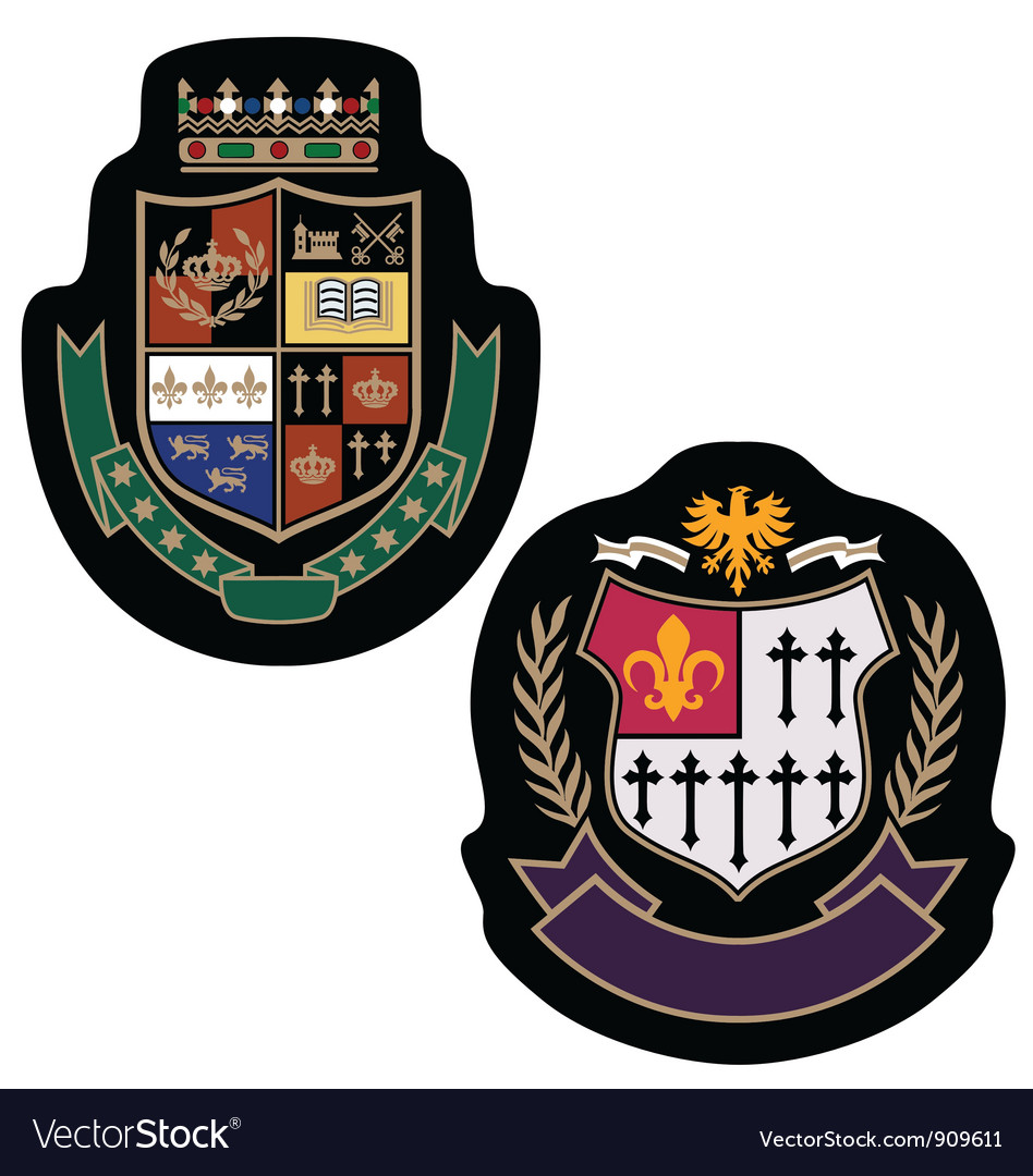 Royal crown college badge vector | Price: 1 Credit (USD $1)