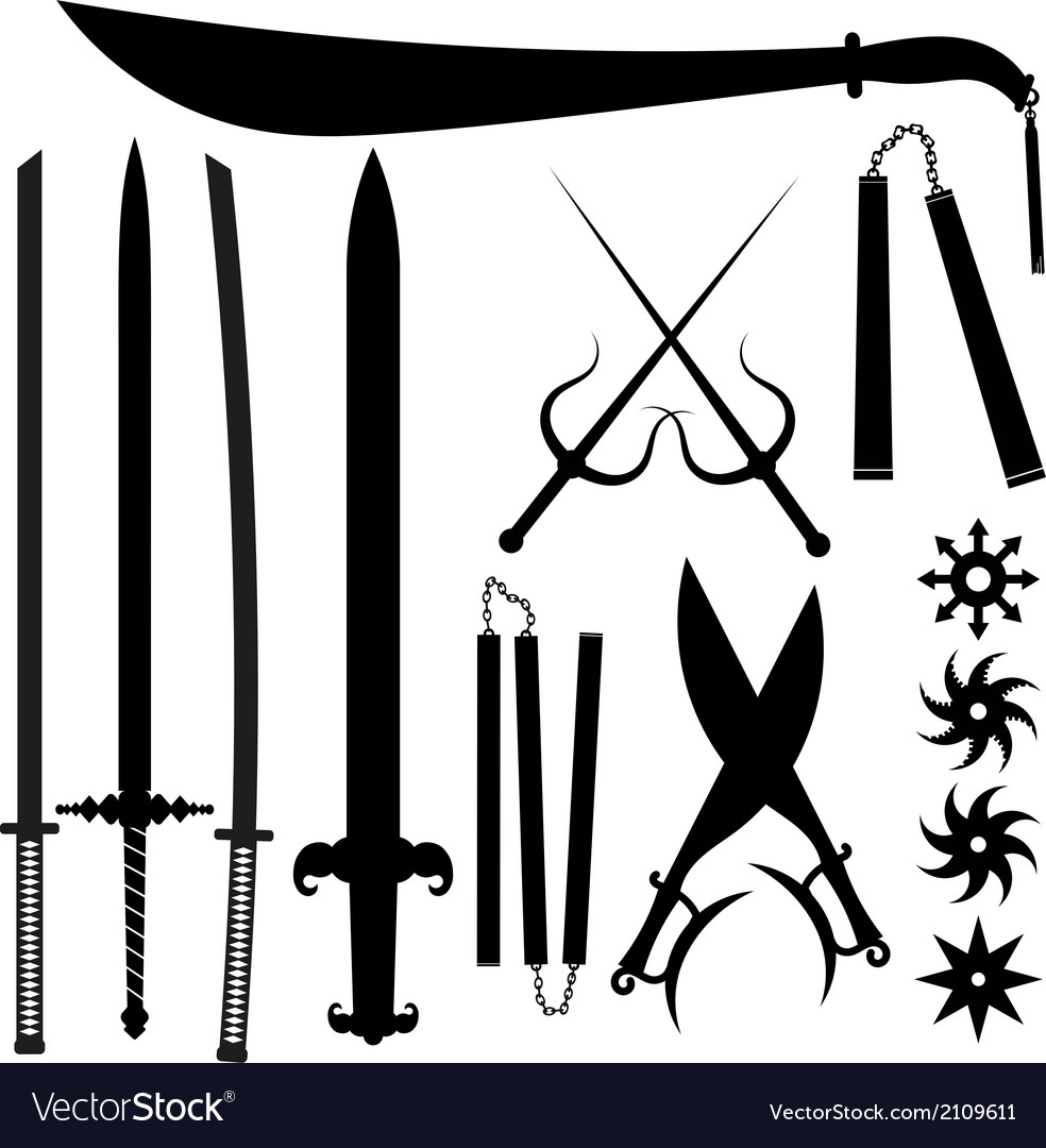 Set of silhouettes bladed weapons vector | Price: 1 Credit (USD $1)