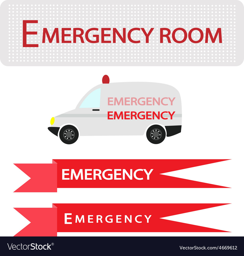 Ambulance with emergency banner vector | Price: 1 Credit (USD $1)