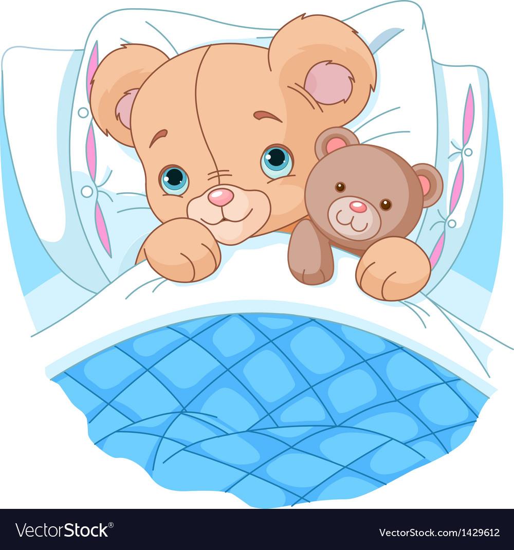 Cute baby bear in bed vector | Price: 1 Credit (USD $1)