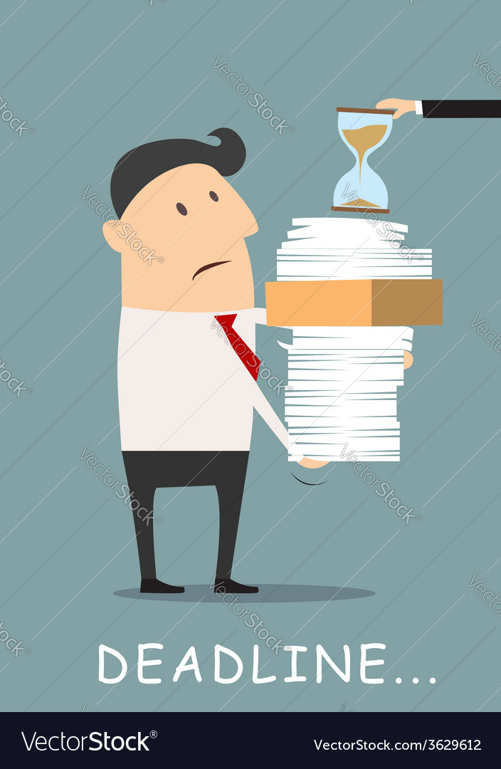 Deadline concept businessman carrying eports vector | Price: 1 Credit (USD $1)