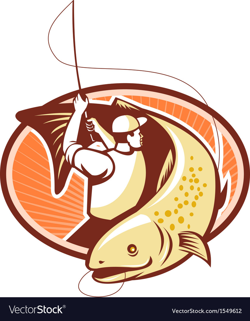 Fly fisherman reeling trout fish retro vector | Price: 1 Credit (USD $1)