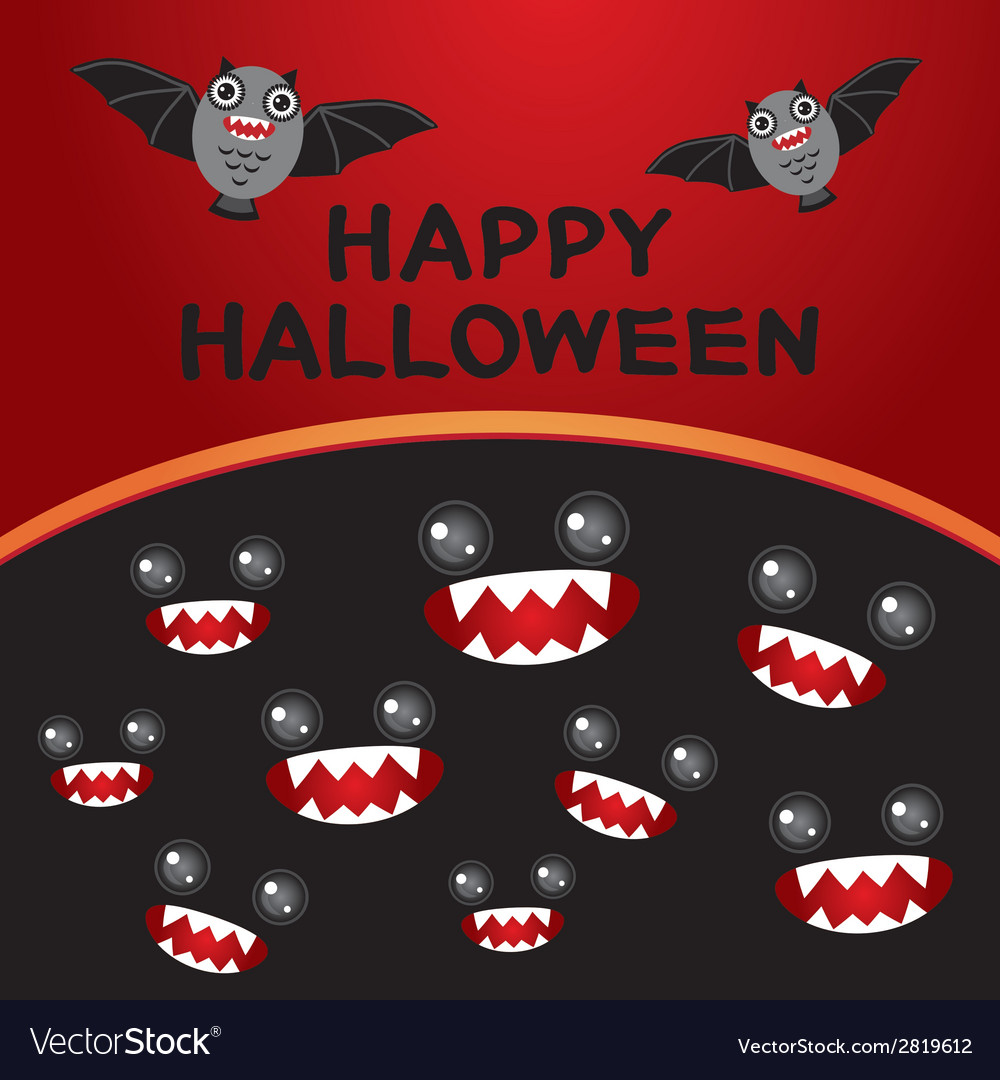 Happy halloween card bats monsters black and red vector | Price: 1 Credit (USD $1)