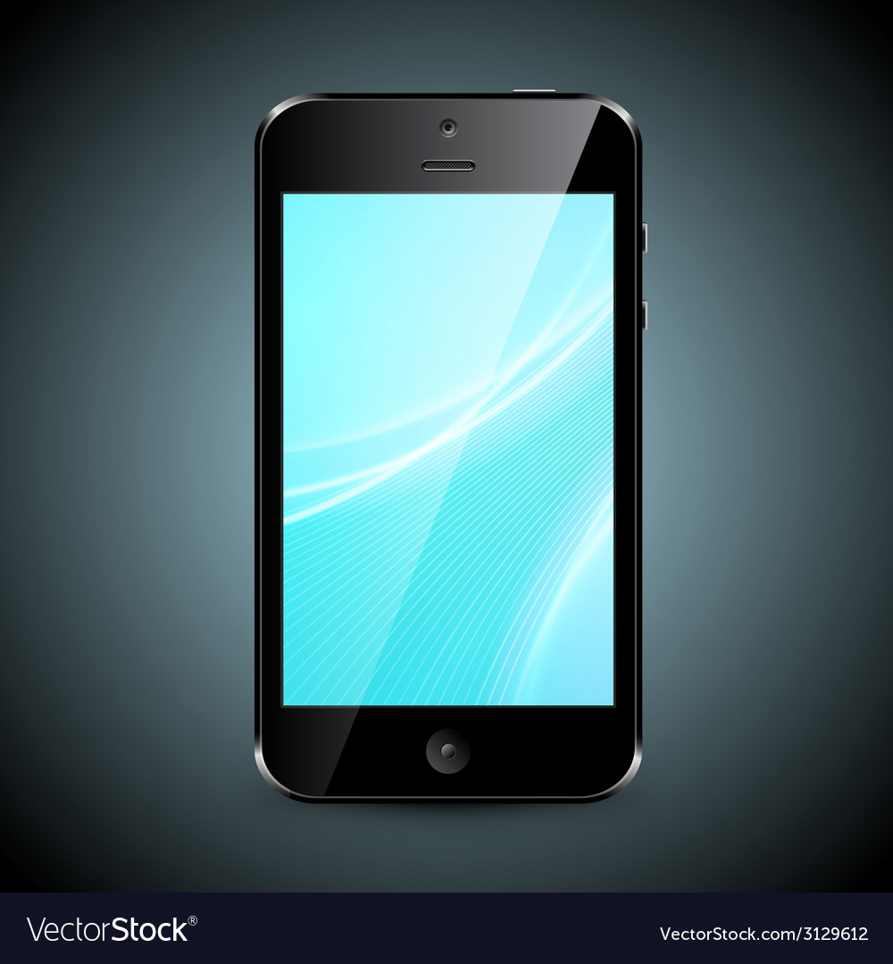 Mobile phone with wallpaper isolated on dark vector | Price: 1 Credit (USD $1)