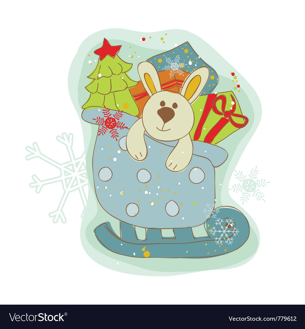 Retro christmas bunny card vector | Price: 1 Credit (USD $1)