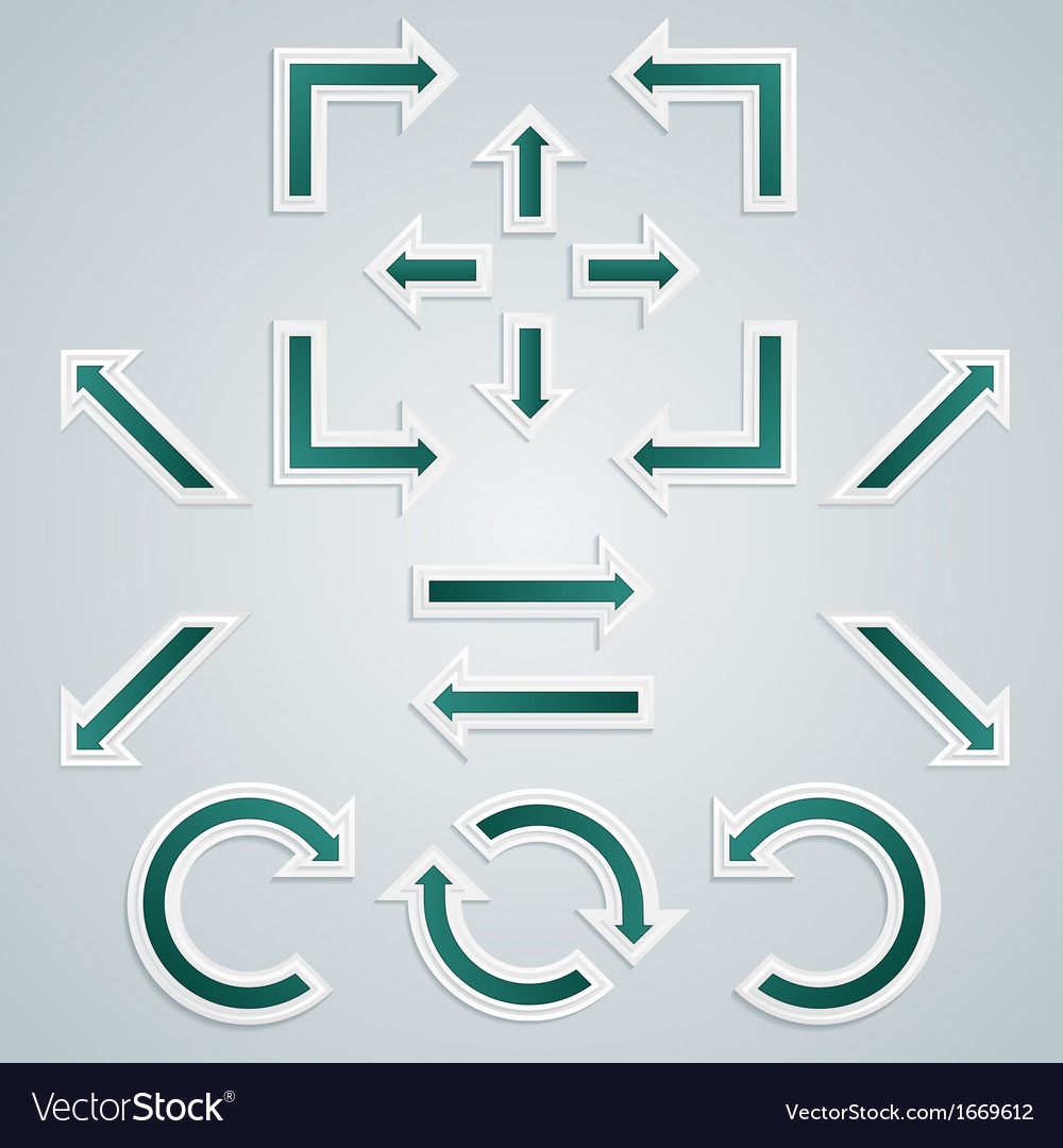 Set of turquoise sharp arrows for infographics vector | Price: 1 Credit (USD $1)