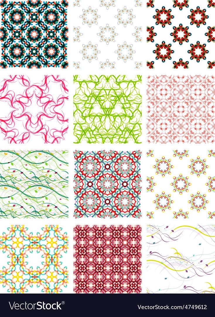 Set seamless geometric patterns - circles swirls vector | Price: 1 Credit (USD $1)
