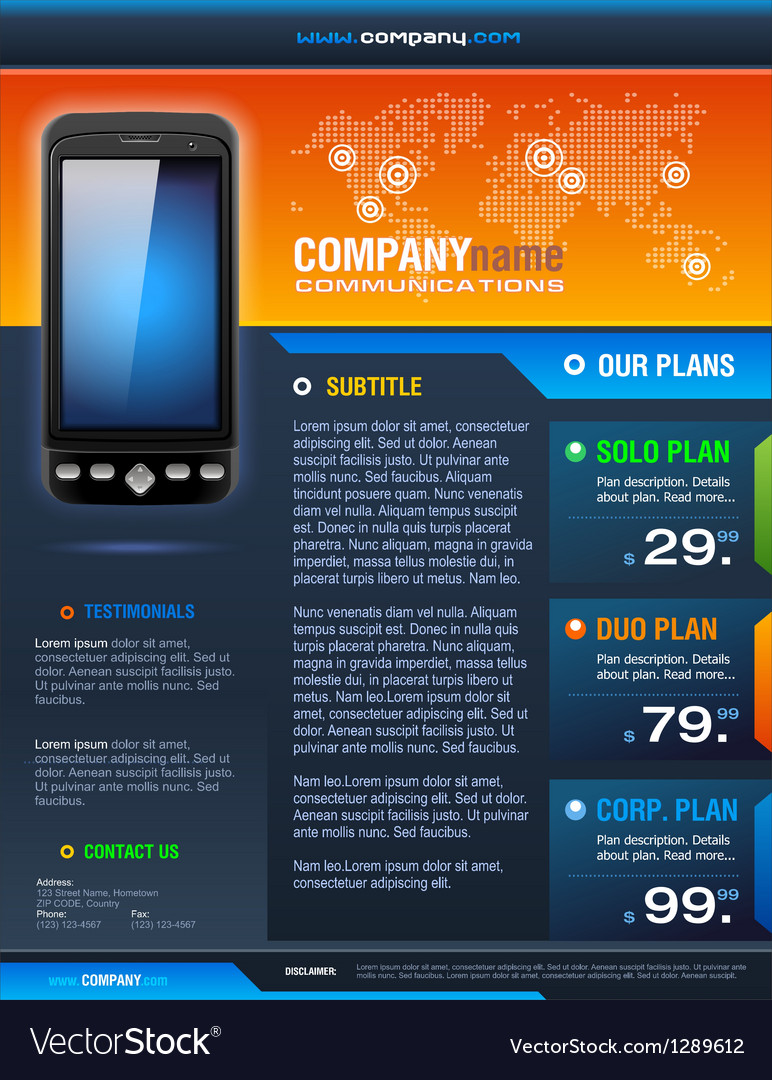 Smart phone provider brochure vector | Price: 1 Credit (USD $1)
