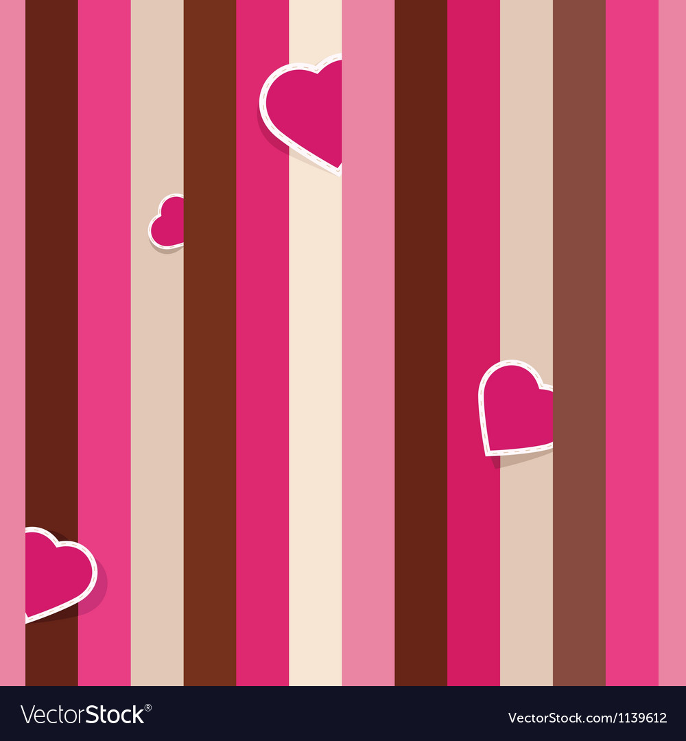 Striped pink seamless background pattern with hear vector | Price: 1 Credit (USD $1)
