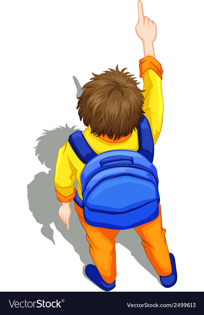 A topview of a boy with a blue backpack vector | Price: 1 Credit (USD $1)