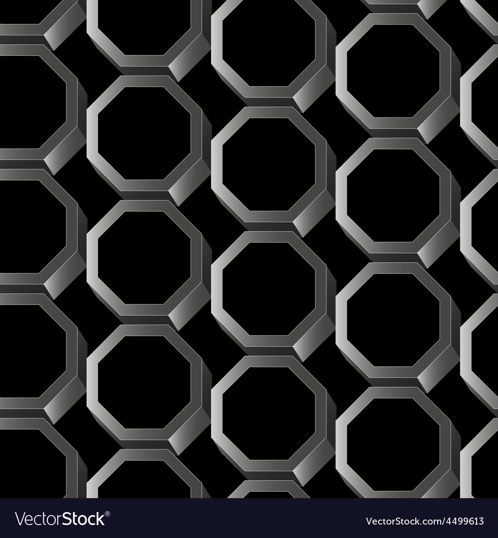 Abstract silver 3d hexagon seamless pattern vector | Price: 1 Credit (USD $1)