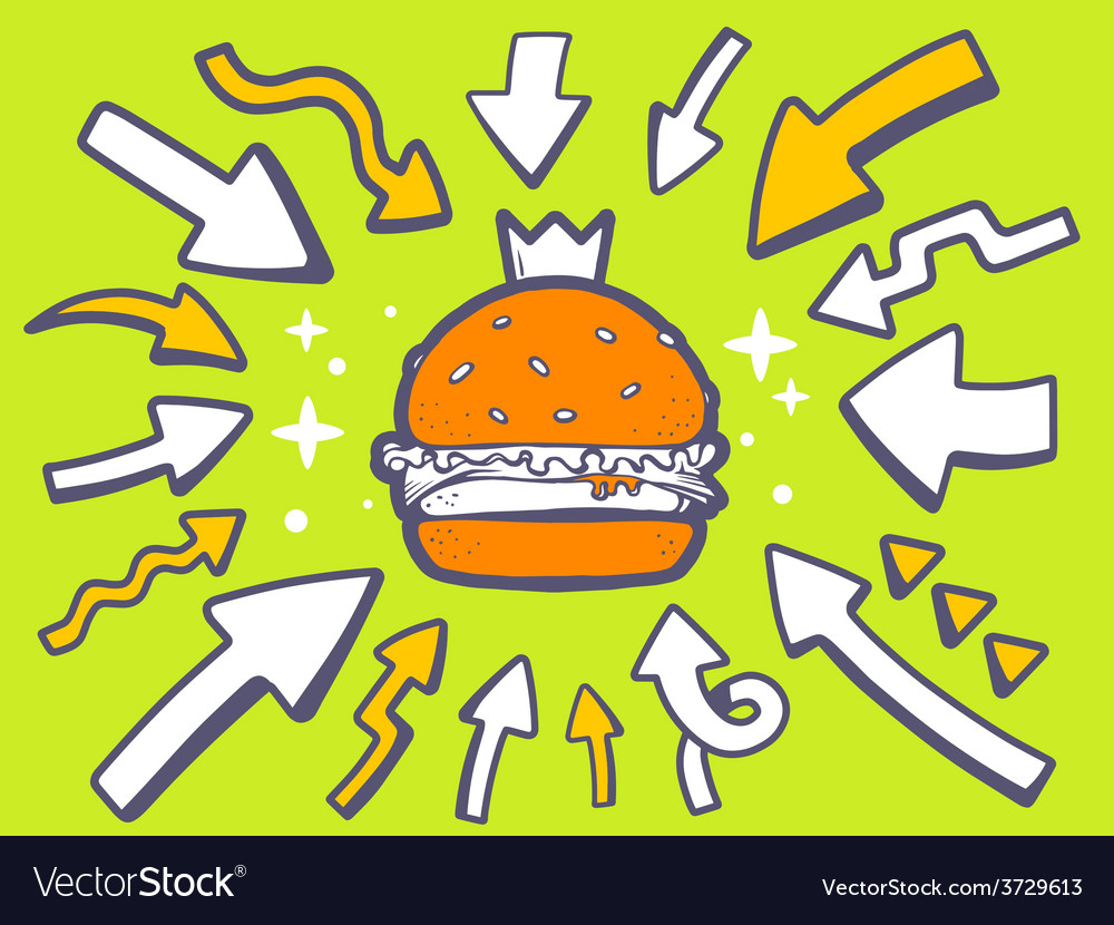 Arrows point to icon of big burger with c vector | Price: 1 Credit (USD $1)