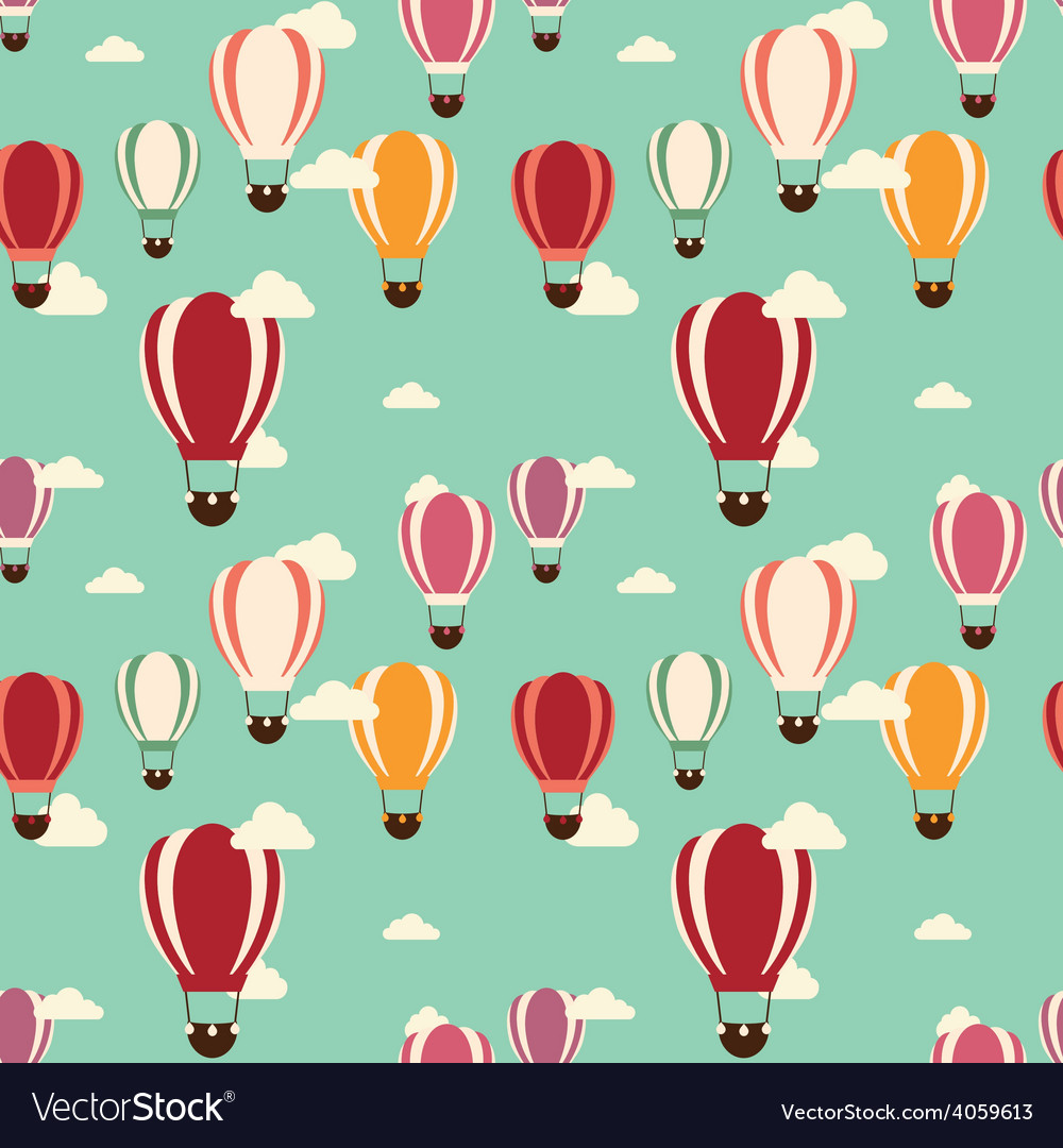 Background with hot air balloons seamless pattern vector | Price: 1 Credit (USD $1)