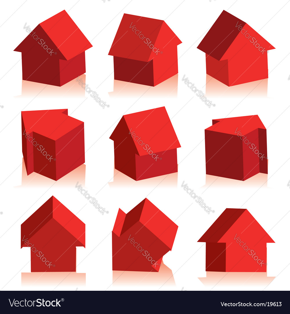 Collection of houses red icon vector | Price: 1 Credit (USD $1)