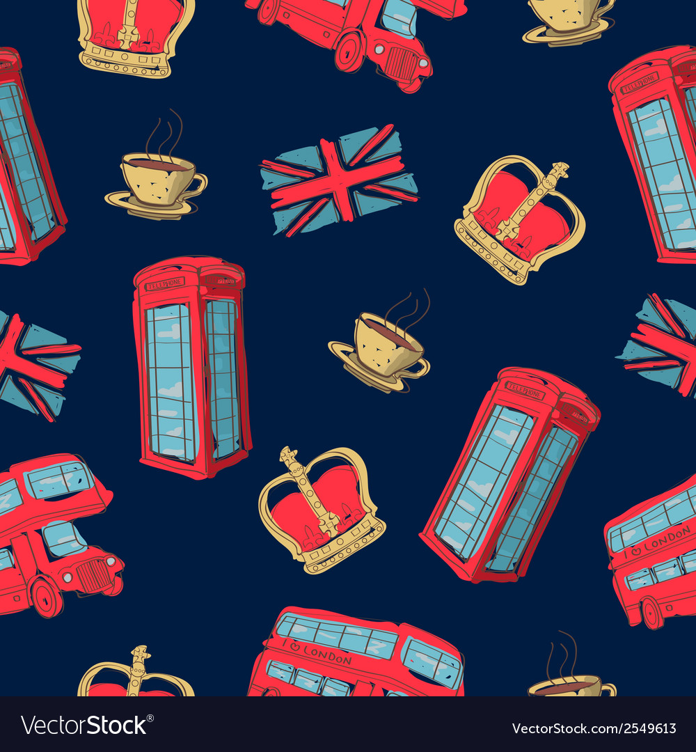 Colorful seamless pattern of hand-drawn london vector | Price: 1 Credit (USD $1)
