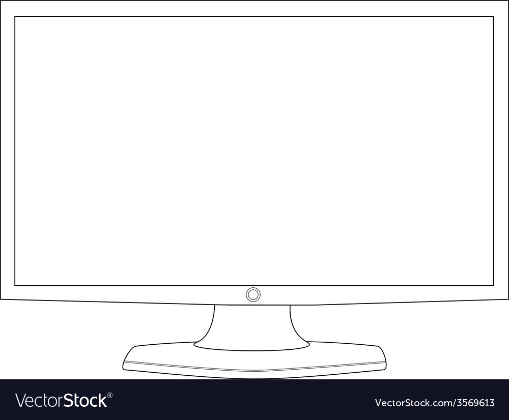 Computer monitor outline vector   Price: 1 Credit (USD $1)
