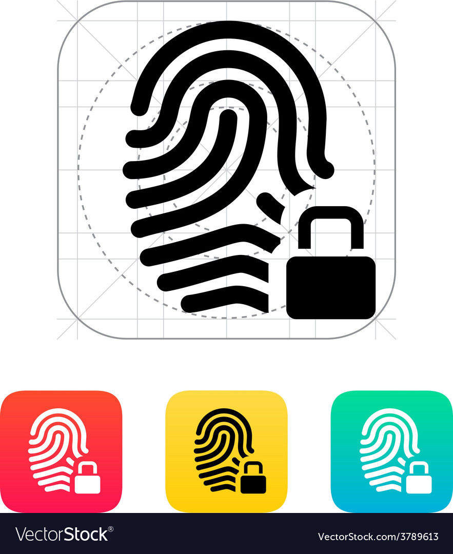 Fingerprint and thumbprint with lock icon vector | Price: 1 Credit (USD $1)