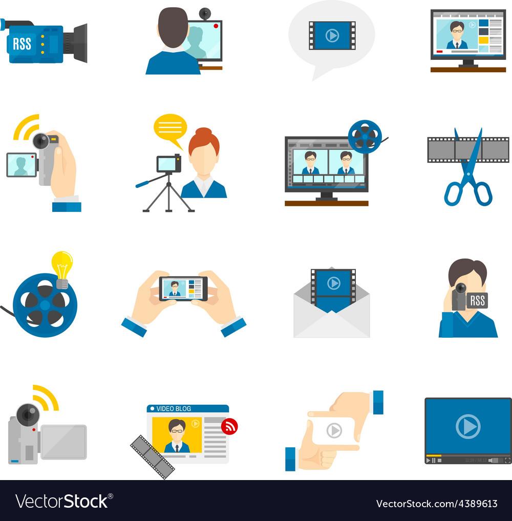 Flat icon video blog vector | Price: 1 Credit (USD $1)