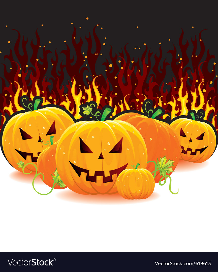 Red fire with pumpkins vector | Price: 3 Credit (USD $3)