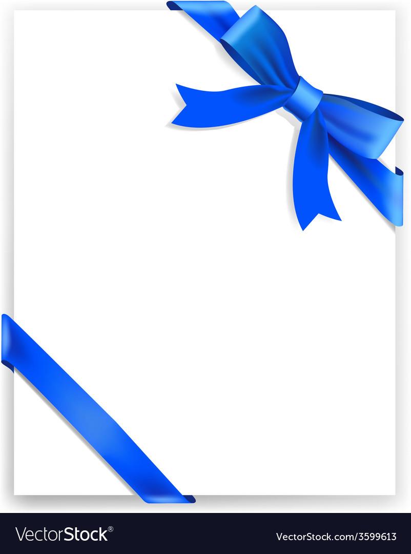 Shiny blue satin ribbon on white background vector