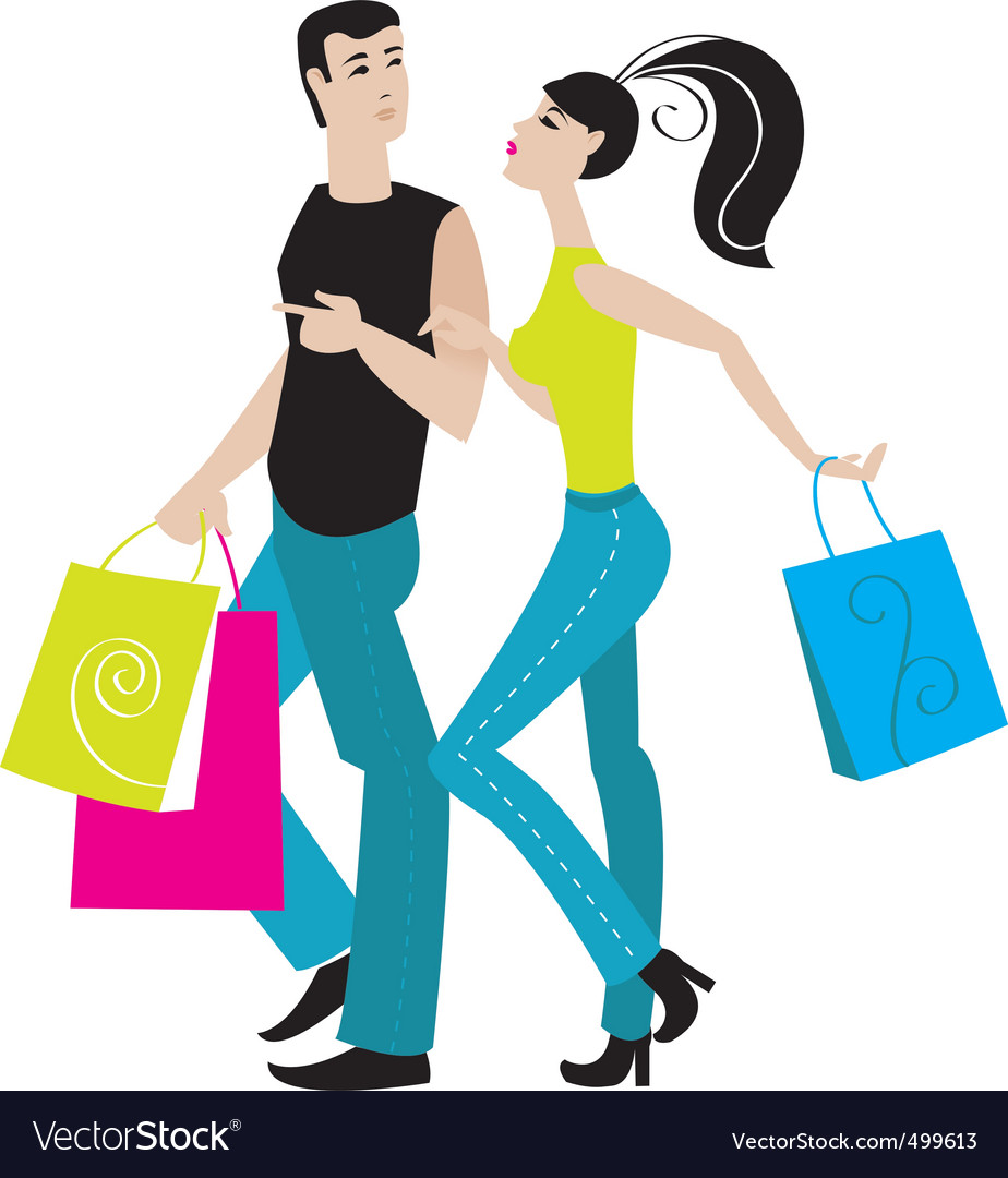 Shopping girl and boy vector | Price: 1 Credit (USD $1)