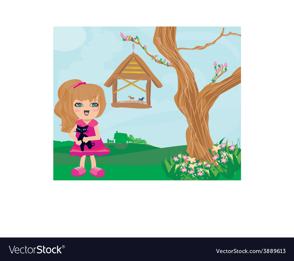 Sweet girl and her cat vector | Price: 1 Credit (USD $1)