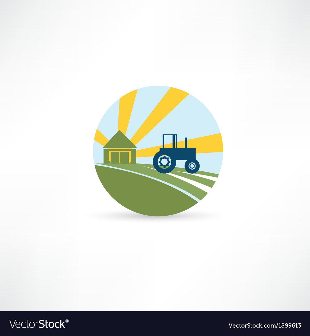 Tractor on a farm vector | Price: 1 Credit (USD $1)