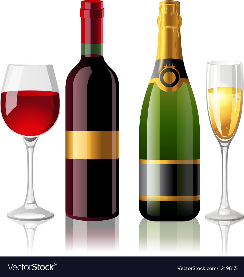 Wine and champagne vector | Price: 3 Credit (USD $3)