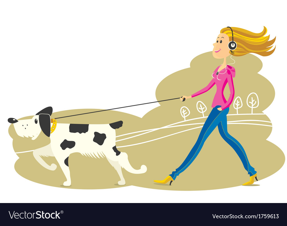 Young woman walking the dog vector | Price: 1 Credit (USD $1)