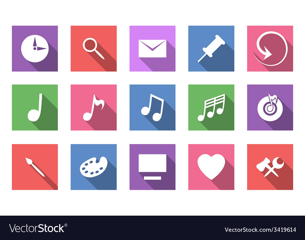 Art and musical flat icon set vector | Price: 1 Credit (USD $1)