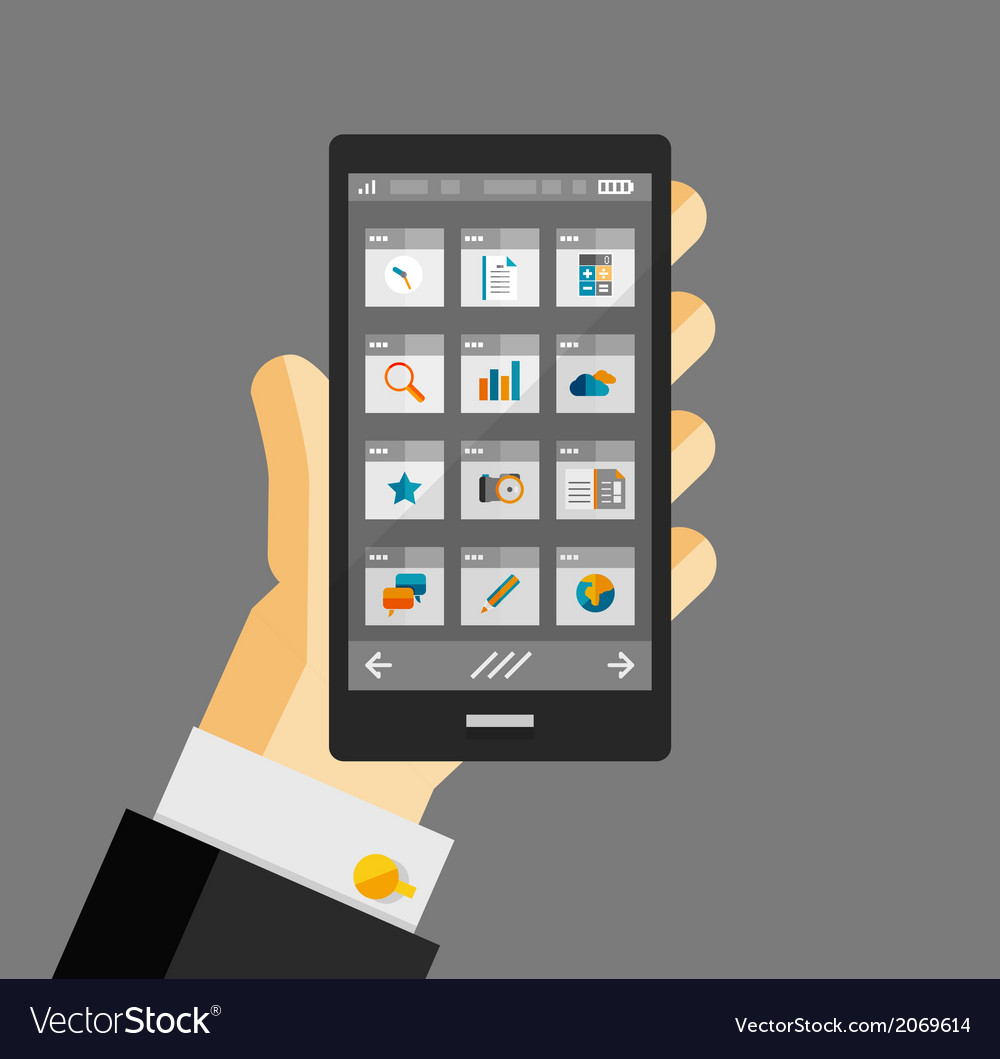 Businessman hold smartphone with apps vector