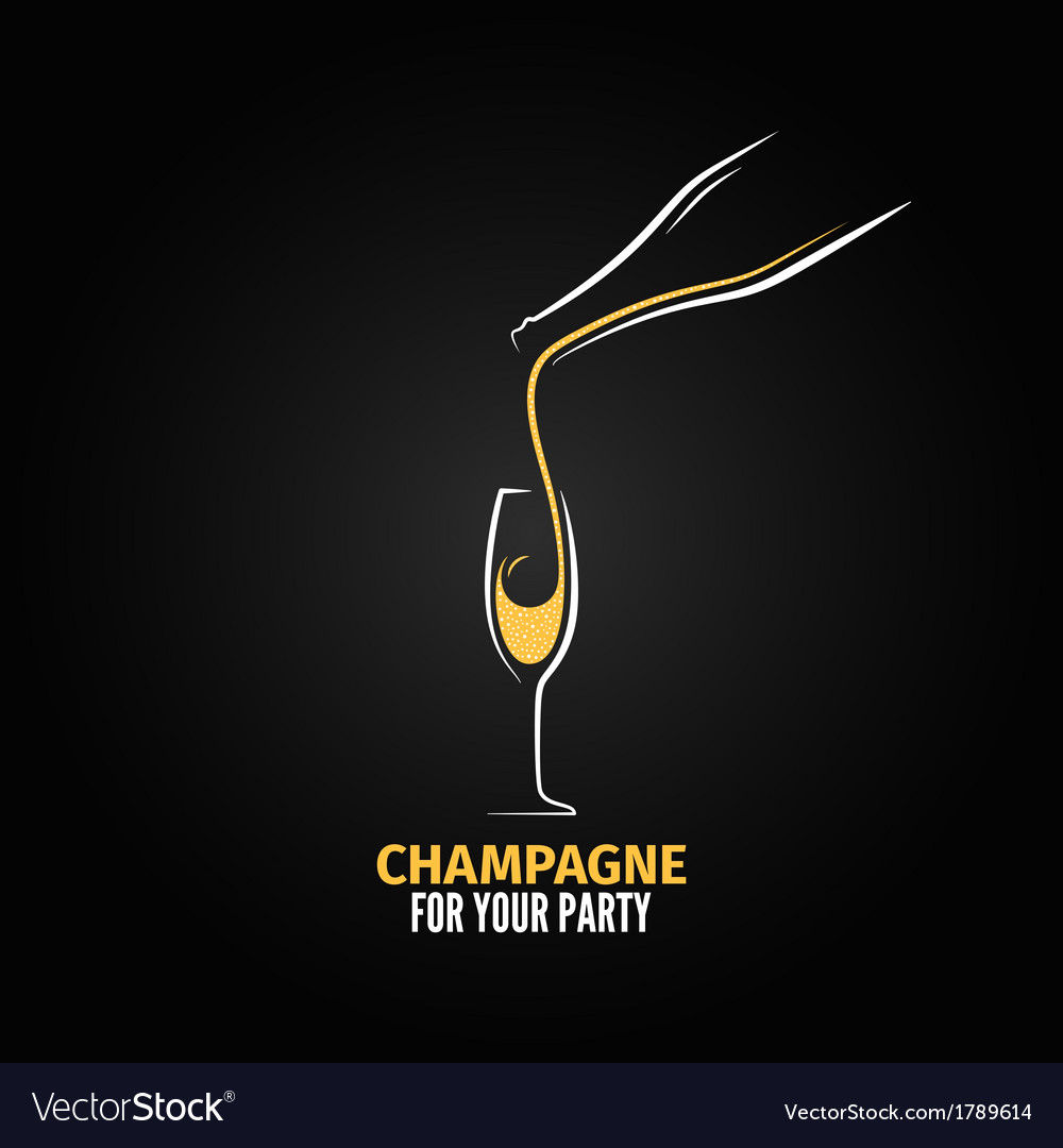 Champagne glass bottle design background vector | Price: 1 Credit (USD $1)