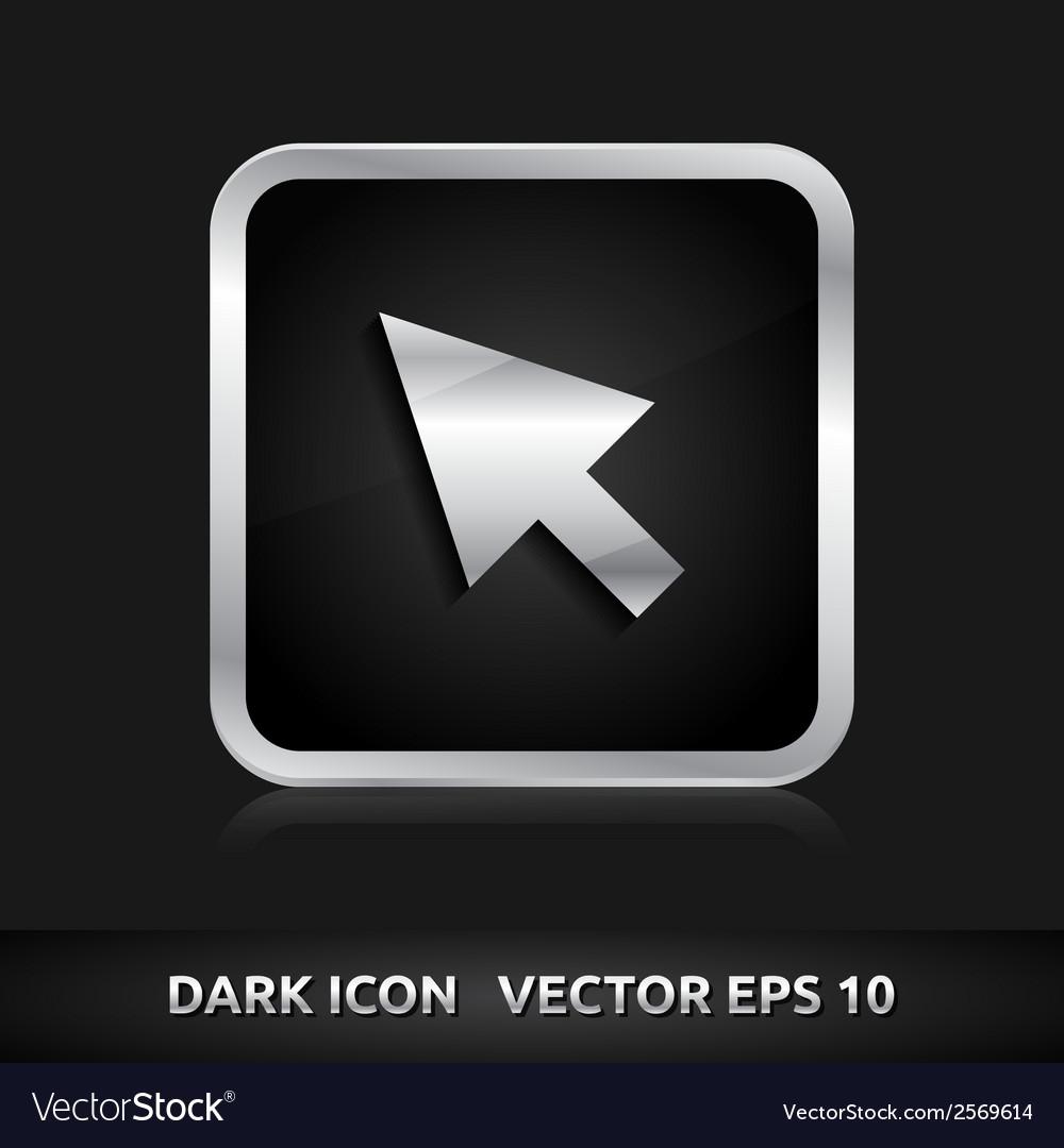 Cursor mouse icon silver metal vector | Price: 1 Credit (USD $1)