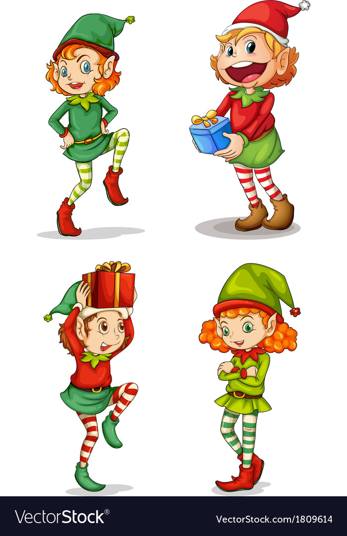 Four smiling elves vector   Price: 1 Credit (USD $1)