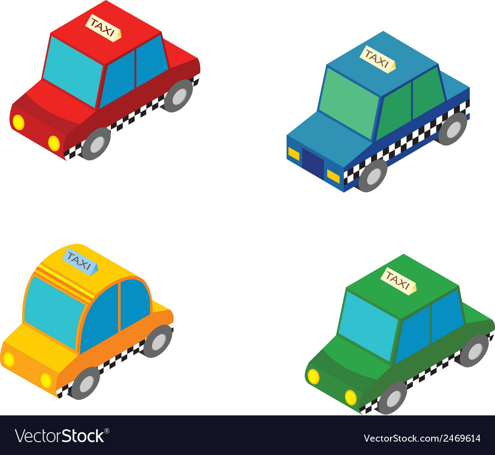 Isometric taxi vector | Price: 1 Credit (USD $1)