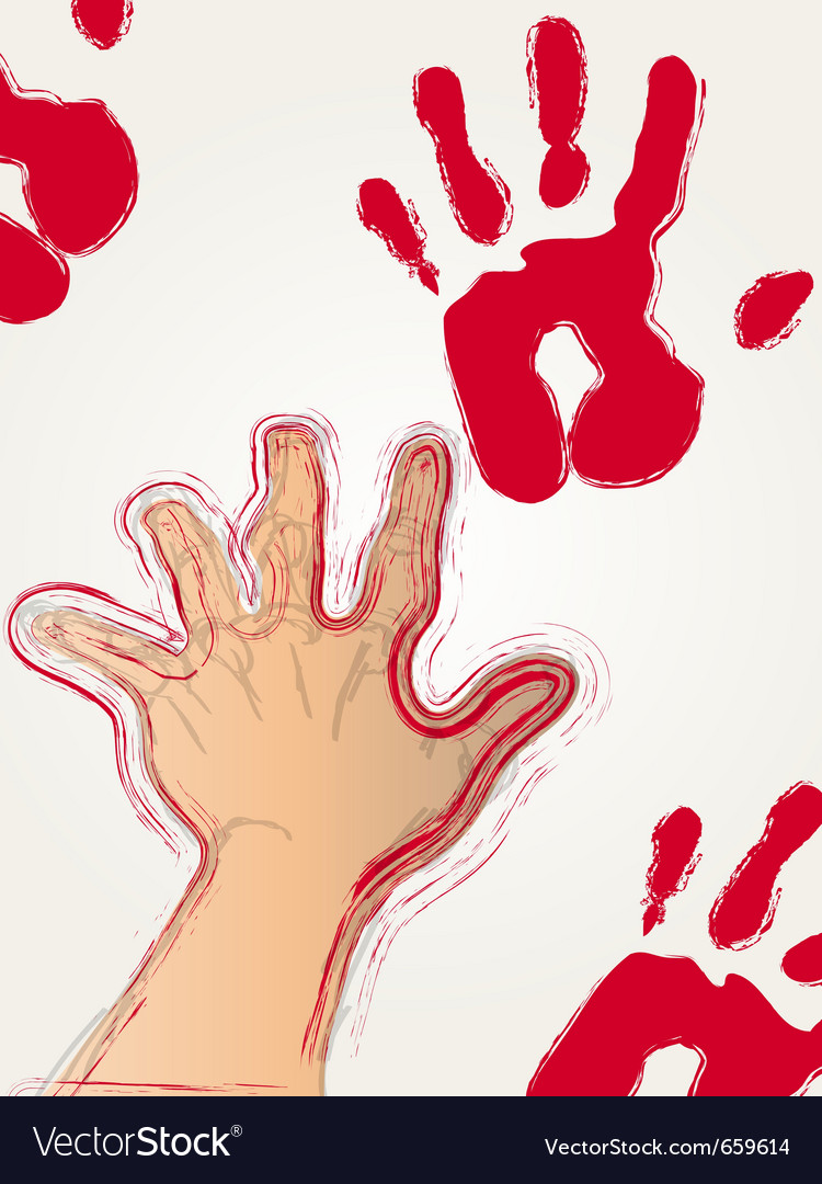 Red paint hand print vector | Price: 1 Credit (USD $1)
