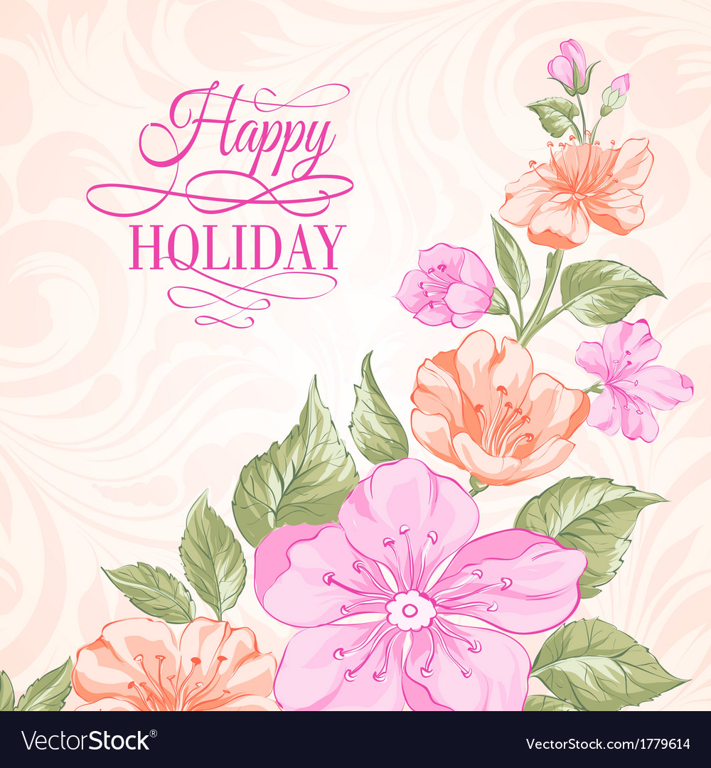 Sakura holiday invitation card vector | Price: 1 Credit (USD $1)