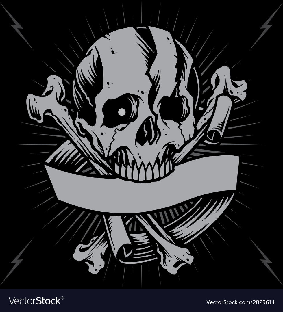 Skull bone cross and ribbon vector | Price: 1 Credit (USD $1)