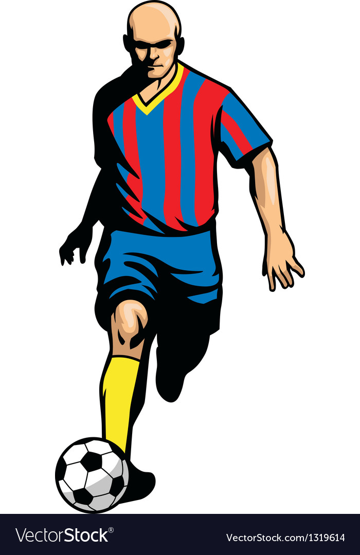 Soccer player dribbling ball vector | Price: 1 Credit (USD $1)