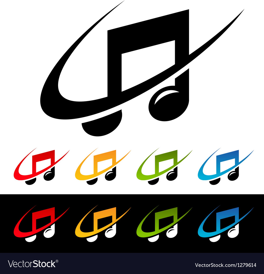 Swoosh music note icons vector | Price: 1 Credit (USD $1)