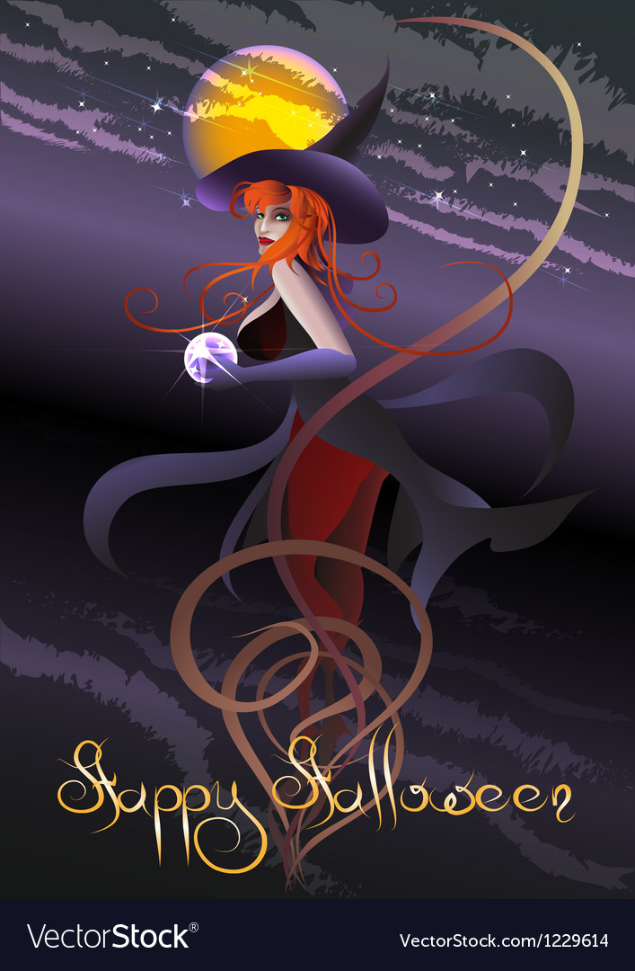 Witch with a crystal ball vector | Price: 1 Credit (USD $1)