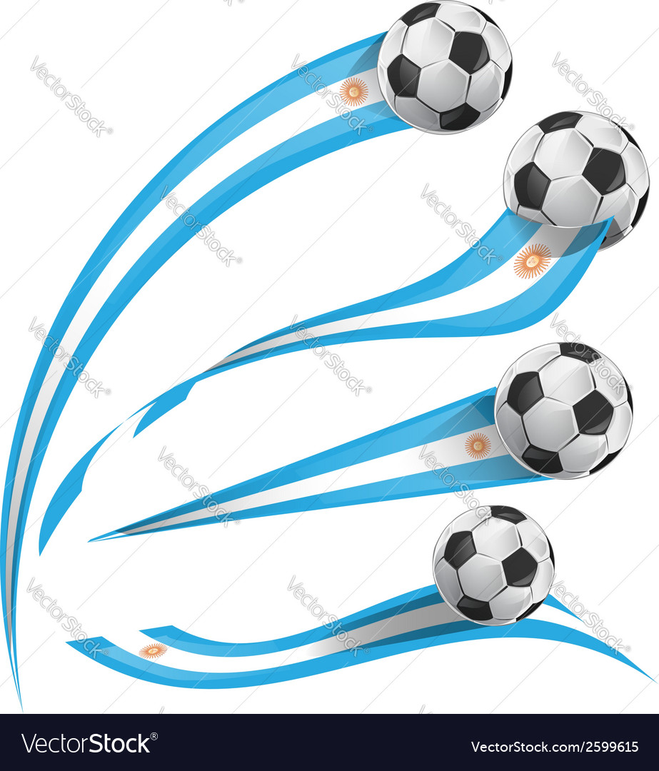 Argentina flag set with soccer ball vector | Price: 1 Credit (USD $1)