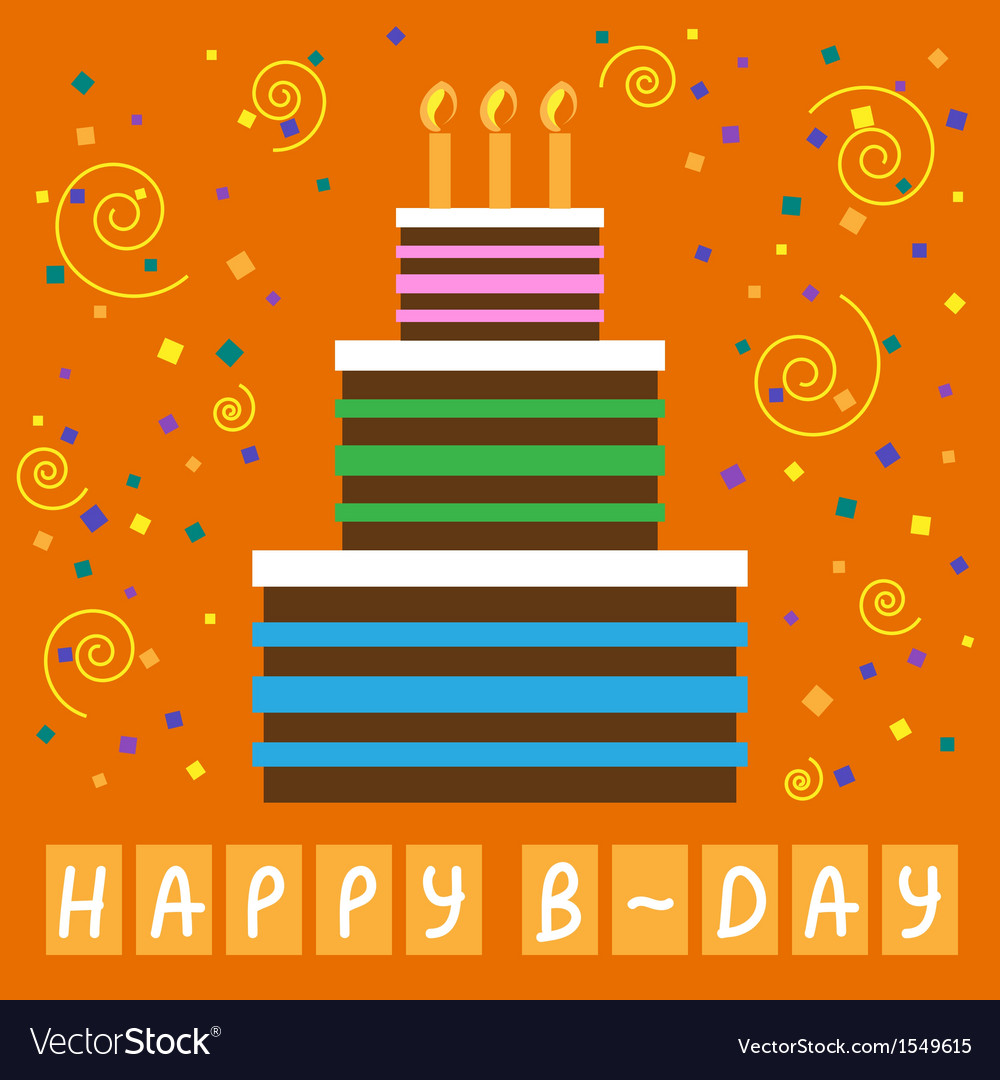 Birthday greeting card with cake and candles vector | Price: 1 Credit (USD $1)