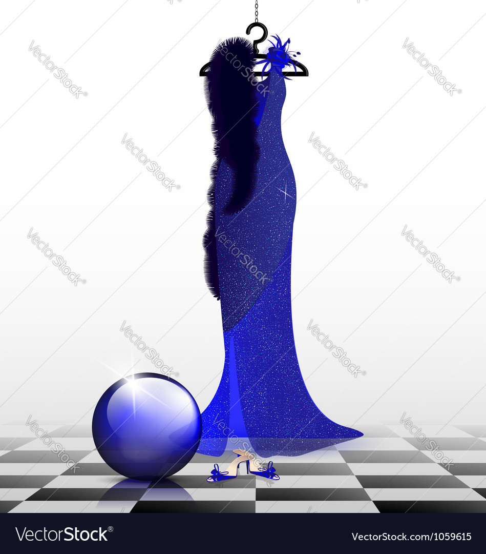 Blue evening dress vector | Price: 1 Credit (USD $1)