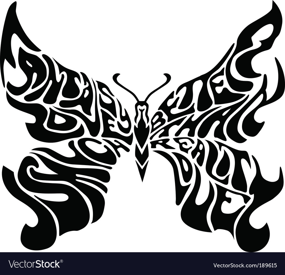 Butterflies typography vector | Price: 1 Credit (USD $1)